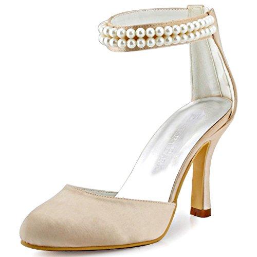 De Talon Champagne Eclair Femme Chaine Aiguille Elegantpark Bout Ferme Chaussures Perle Mariage Fermeture Pumps Aj3065 Satin OpFqwzZ