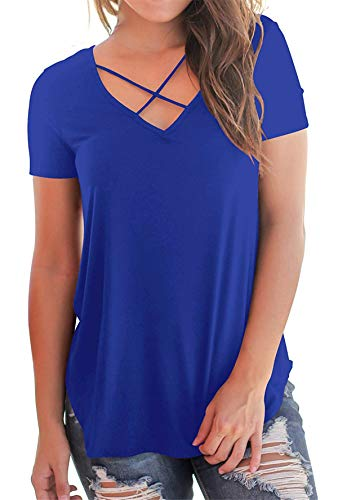 onlypuff Ladies Casual Tops Solid Color Summer Royal Blue Tunic Tops V Neck T Shirts S
