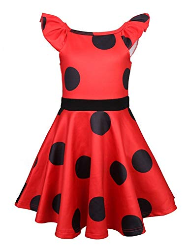 Toddler Girls' Tulle Swing Dress for Miraculous Ladybug Baby Dress Up Pretend Play Christmas Costume Birthday Party Dress