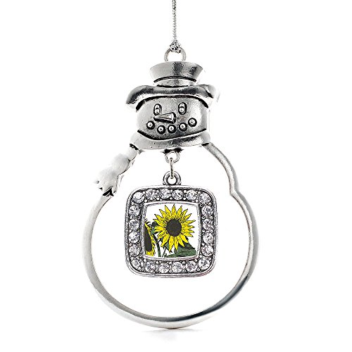 Inspired Silver - Sunflower Charm Ornament - Silver Square Charm Snowman Ornament with Cubic Zirconia Jewelry
