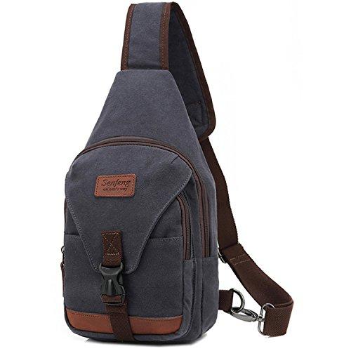 Outreo Pecho Bolso Bandolera Hombre Bolsos de tela Bolsa Vintage Sport Bolsas de Viaje Lona Colegio Peque?as Casual Chest Bag Outdoor Monta?a Originales Azul