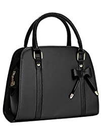 Coofit Black Leather Handbags, Top Handle Handbags Ladies Tote Bag for Women Bow Purses and Handbags