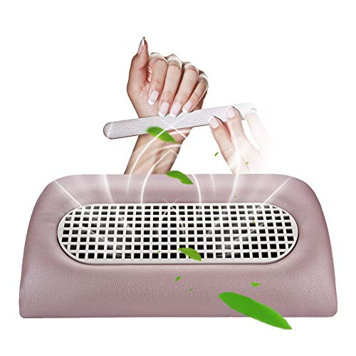 Nail Dust Collector Composed of 3 Fans Art Salon Suction Acrylic UV Gel Machine Manicure Pedicure Tools with 2 Replaced Dust Collecting Bags (Pink) (Nail Collector)