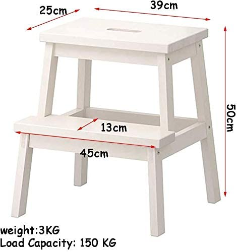 Step Ladders 2 Tread Wooden Utility Step Stool/Ladder Chair, Stair Chair Moveable Stepladder Widened Home Garden Tool QIQIDEDIAN