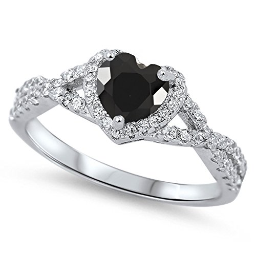 925 Sterling Silver Faceted Natural Genuine Black Onyx Heart Halo Promise Ring Size 12