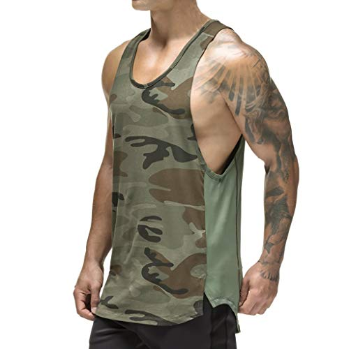 Camo Mens Tank Top - Magiftbox Mens Workout Mesh Quick-Dry Muscle Tank Tops for Bodybuilding Gym Training Black/Camo T09A_Camo_US-L