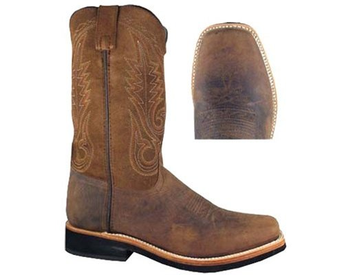 Smoky Mountain Boots Mens Boonville Brown Distress Leather Square Toe 13 - Leather Brown Square