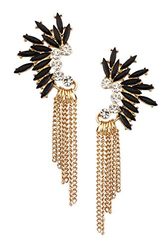 (Mina Gold Jeweled Fringe Ear Crawler Art Deco Gatsby Cascading Chain 3.8 Inch Drop Long Statement Black Earring)