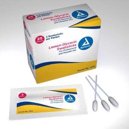 Dynarex 12161710 Lemon Glycerin Swabstick 1216 Box Of - Glycerine Lemon Swabsticks