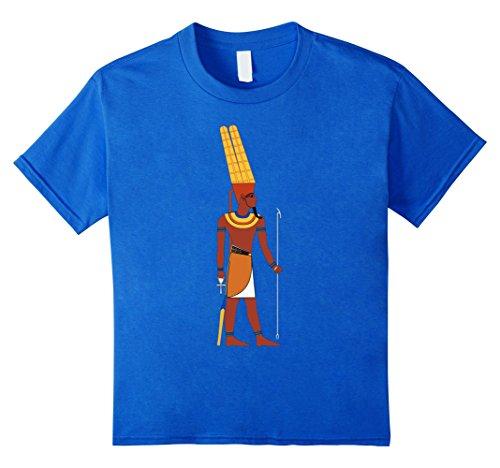 Kids Egypt T-Shirt, Egyptian God Amun King Deity Sceptre Tshirt 4 Royal Blue (Major Egyptian Gods)