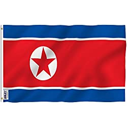 Anley Fly Breeze 3x5 Foot North Korea Flag - Vivid Color and UV Fade Resistant - Canvas Header and Double Stitched - N Korean National Flags Polyester with Brass Grommets