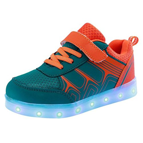 [Present:kleines Handtuch]Orange EU 36, Mädchen Sportsschuhe Jungen Klettverschluss LED Sneakers Light weise