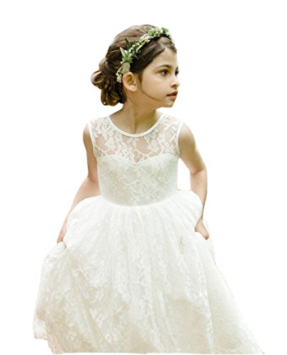 Ikerenwedding Lace Flower Girl Wedding Dress Gorgeous Princess Gown Ivory Size (Ivory Lace Gown)