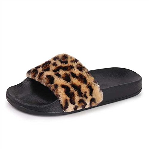 EQUICK Women's Faux Fur Slide Sandals Casual Flat Slipper for Indoor and Outdoor (Leopard Satin Sandals)