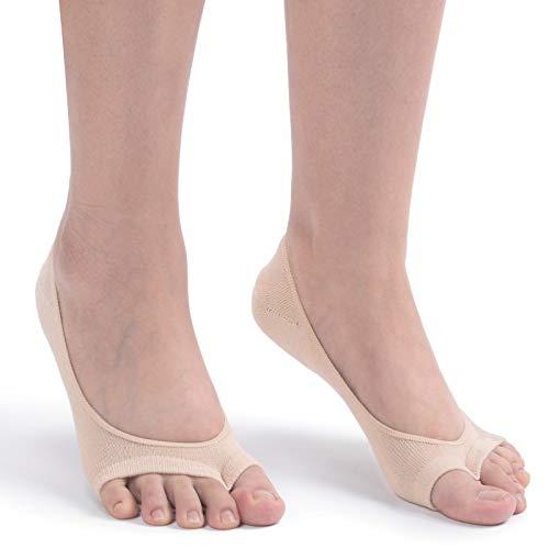 Flammi Women's 3 Pairs Peep Toe Liner Socks No Show Casual Socks with Nonslip Heel Grip (Beige)