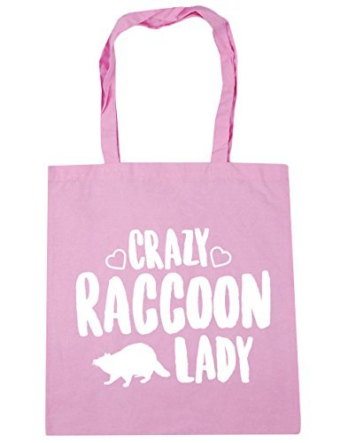 Crazy raccoon lady Tote Shopping /& Gym /& Beach Bag 42cm X 38cm with Handles By Valentine Herty
