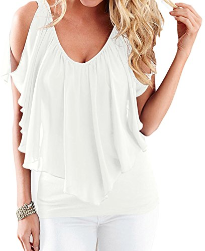 DH-MS Dress Women's Sexy Cold Shoulder Tunic Summer V Neck White Flutter Top (Mexico 66 Dress)
