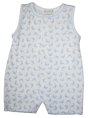 Kissy Kissy Baby-Boys Infant Curious Crabs Print Sleeveless Short Playsuit-White With Blue-9 Months