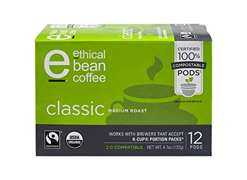 Classic Ethical Bean Coffee: 100% Compostable Single Serve K-Cups, Medium Roast - USDA Certified Organic, Fair Trade Certified, Keurig Compatible - 12 Compostable Pods