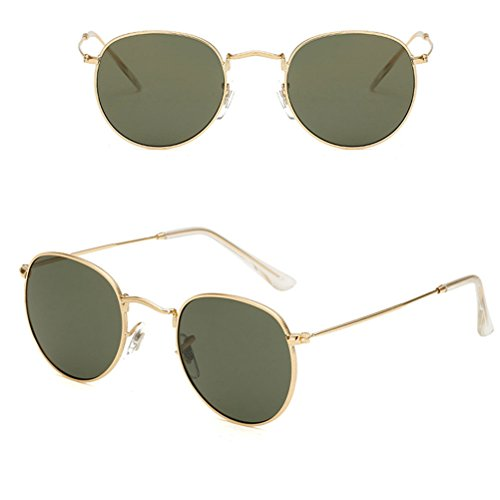 Sunglasses UV400 green Girls amp;Dark Round Vintage Buena Oversized Gold Calidad amp; Designer for Metal Women Zhuhaitf Ladies Case Sunglasses qHPRw