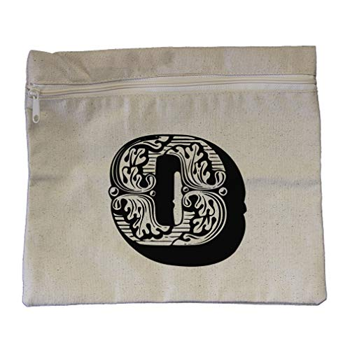 ''O'' Vintage Antique Monogram Letter O Cotton Canvas Zippered Pouch 12''x10'' by Style In Print