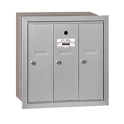 Salsbury Industries 3503ARU Recessed Mounted Vertical Mailbox with 3 Doors and USPS Access, Aluminum ()