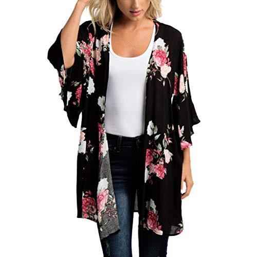 Women's Sheer Chiffon Blouse Loose Tops Kimono Floral Print Cardigan Black ()