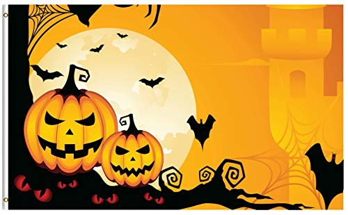 ShineSnow Pumpkin Owl Halloween Ghost 5x8 Feet Flag, Polyester Funny Creepy Autumn Moon Yellow Bat Double Stitched with Brass Grommets 5 X 8 Ft Flag for Outdoor Indoor Decor