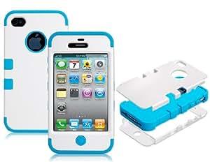 Silicona mate 3 piezas estuche protector para Iphone 4/4S (azul)