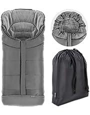 Zamboo Fotväska för Joie Buggy sportbil (lämplig för Litetrax, Mytrax, krom) – vinterväska för barnvagn, med reflektor, huva och väska – grå