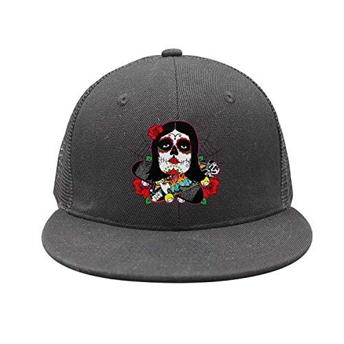 Girl with Candy Skull Makeup Cross Skateboard Unisex Mesh Plain Caps Trucker Hats]()