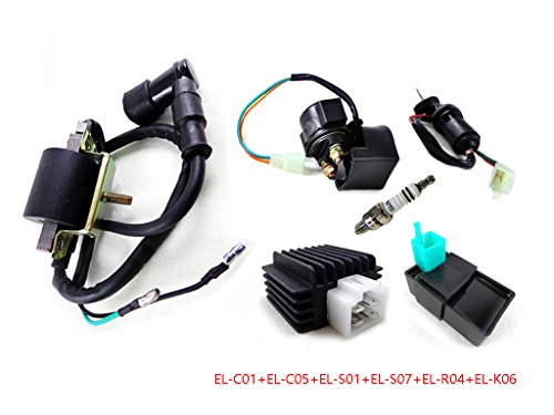 Electric System Components For 50Cc 70Cc 90Cc 110Cc 125Cc Atv Quad Dirt Bike Go Kart Scooter Cdi Box Ignition Coil Spark Plug Regulator Rectifier Starter Relay Solenoid Key Ignition Switch Combo