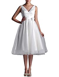 Amazon knee length wedding dresses wedding party clothing wedding dresses v neck bridal gowns simple a line tea length wedding dress bride short junglespirit Image collections