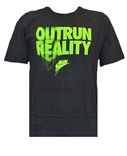 Nike Männer Nike läuft dieses Grafik T-Shirt Realität übertreffen / Grau-Volt