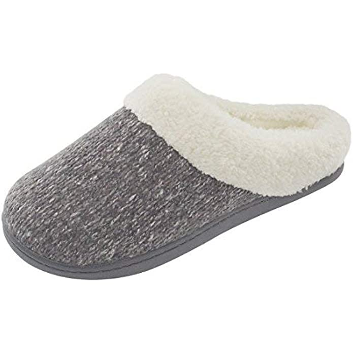 ULTRAIDEAS Women's Cozy Memory Foam Knit Slippers, Ladies' Slip on Mules House Shoes with Indoor Outdoor Anti-Skid Rubber Sole