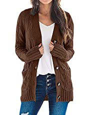 YACUN Women Cable Knit Cardigan Long Sleeve Button Down Sweaters with Pocket Knitwear