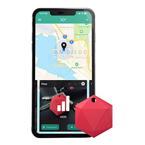 XY4+ Key Finder - Bluetooth Item Finder, Phone Finder, Car Key Tracker Device - Key Locator Tags Find Lost Keys, Keychain, Smartphone, Wallet, Luggage (Red)