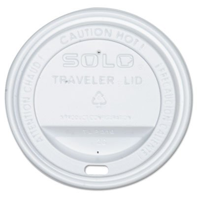 SOLO Cup Company Traveler Drink-Thru Lid, Fits 12 oz & 16 oz Hot Beverage Cups, White, 300/Carton