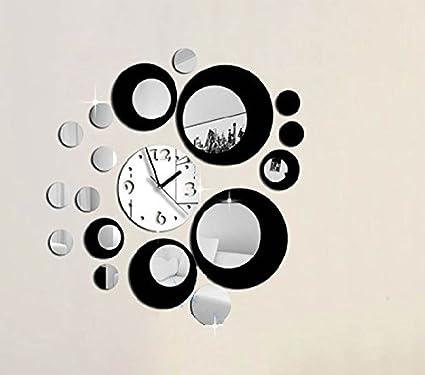 Vinilo retro de pared reloj y circulos espejo negro decoracion salon, dormitorio.