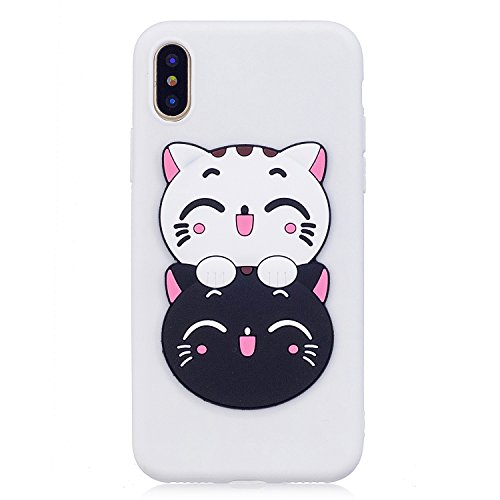 Price comparison product image Urberry iPhone X Case, Funny Cartoon Shock-proof Case for iPhone X with a Free Screen Protector (White)