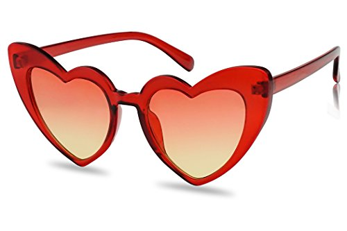 Oversized Lovestruck Round High Tip Heart Shaped Colored Mirror Lens Sunglasses (Red Crystal Frame | - Oversized Sunglasses Heart
