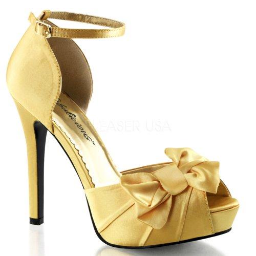 4 Toe Strap mit Schleife Gelb 3 Heel 1 PF Peep d'Orsay Pumps 4 Ankle Satin TwTgqr