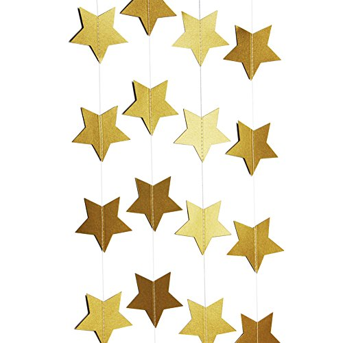 Gold Small Cut Out (SUNBEAUTY 13Feet Five-pointed Star String Paper Garland Hanging Decoration Wedding Birthday Party Baby Shower Background Decorative)