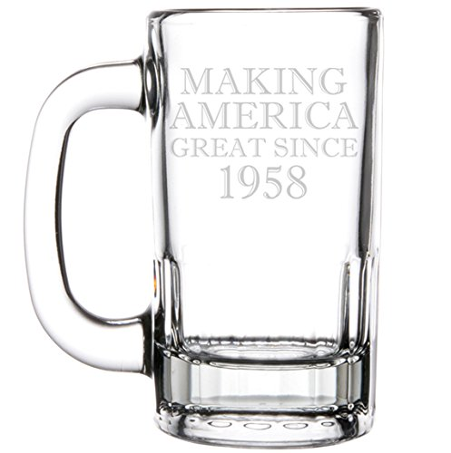 12oz Beer Mug Stein Glass Making America Great Since 1958 60th Birthday
