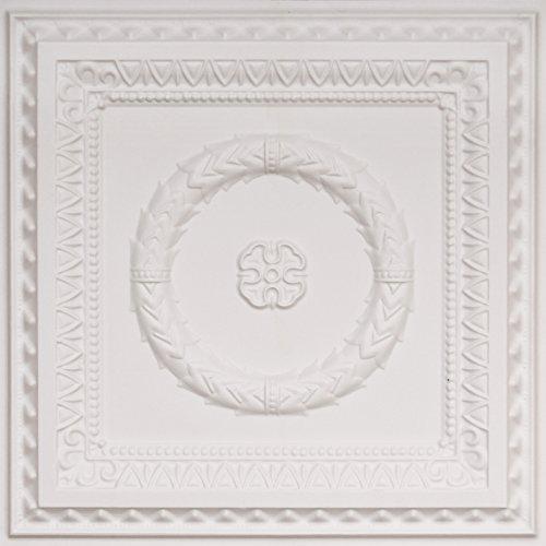 Laurel Wreath-Faux Tin Ceiling Tile - White Matte (Matte White Ceiling Medallion)