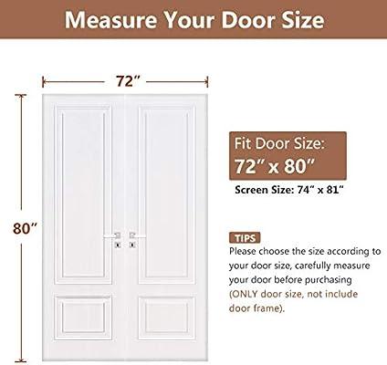 Puerta corredera de 72 x 80, mosquitera magnética reforzada para puertas de hasta 72 pulgadas de ancho x 80 pulgadas de alto: Amazon.es: Bricolaje y herramientas