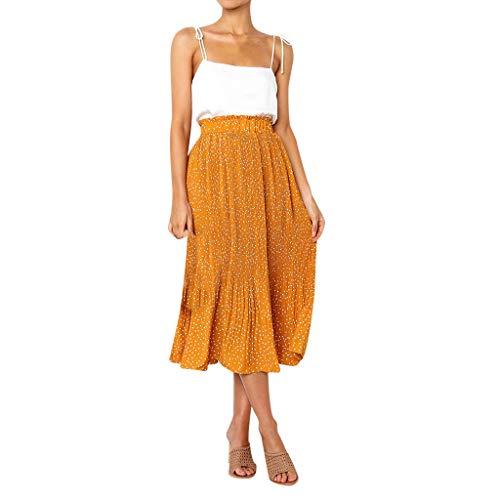 (Women Casual Retro High Waist Floral Maxi Dress Print Skirt)
