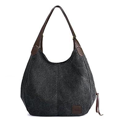 1a408331f7 Women s Canvas Bag - Multi pocket bag Shoulder bags Hobo Tote Bags Cotton  Totes Purses for