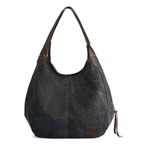Women's Everyday Casual Shoulder Bags - Canvas Hobo Handbag Cotton Totes Purses Black