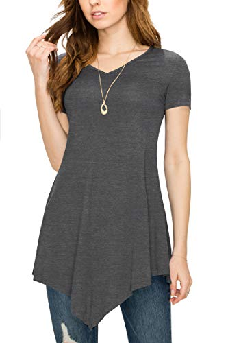 Made By Johnny MBJ WT638 Womens V Neck Asymmetrical Tunic Top S -